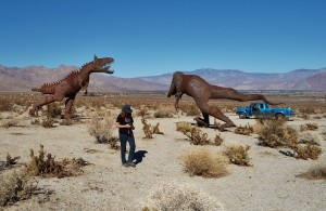 Metal Dinosaur Sculptures at Borrego Springs